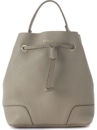 Furla Stacy S Sand Leather Bucket Bag