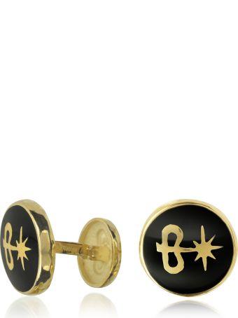Torrini Manifattura Orafa Torrini Black Enamel 18k Gold Logo Cufflinks