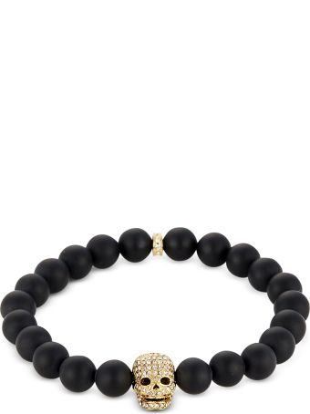 Northskull Matte Black Onyx/gold Skull Bracelet With Crystals