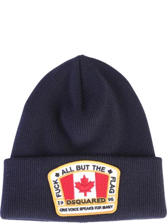Dsquared2 Blue Canadian Flag Patch Beanie