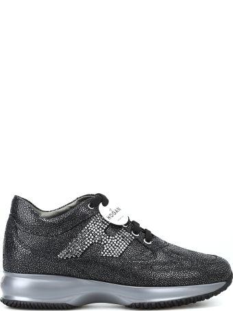 Hogan Embellished Black Suede Interactive Sneakers