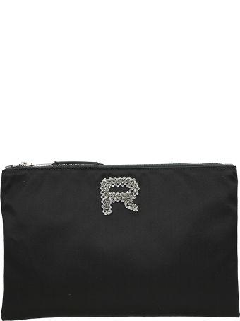Rochas Embellished Logo Clutch Bag