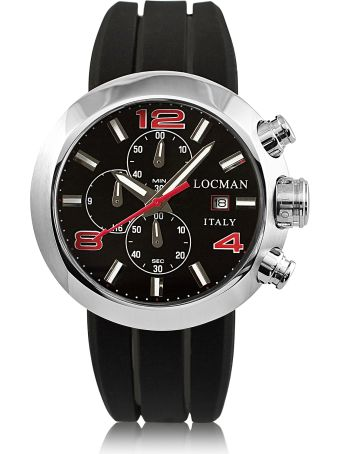 Locman Change Stainless Steel Round Case Men's Chronograph W/ Silicone & Leather Straps