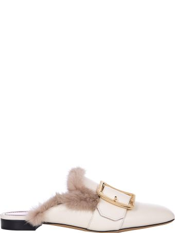 Bally Janesse Fur Trimmed Slippers In White