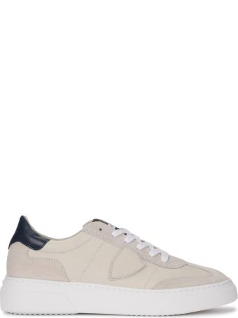 Philippe Model Temple Ivory And Blue Leather And Suede Sneaker