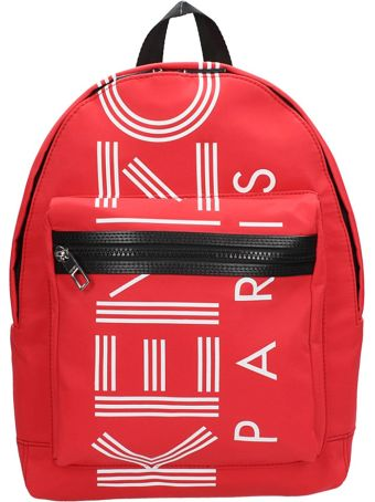 Kenzo Red Fabric Backpack