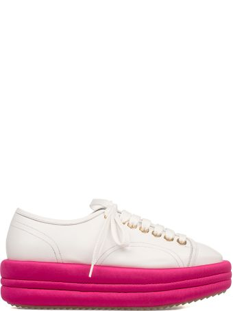 Marc Ellis White/fuchsia Leather Wedge Sneakers
