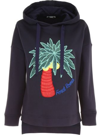 Hoodie With Lurex Palm Embroidery