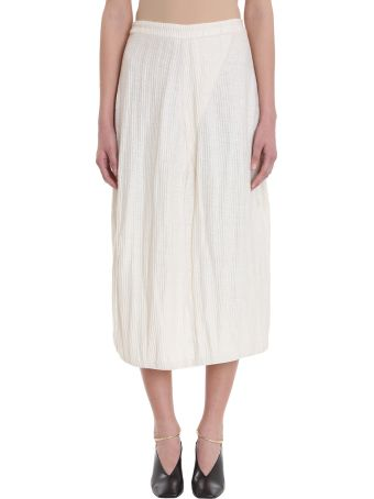 Jil Sander Nude Cotton And Linen Blend Pleated Midi Skirt