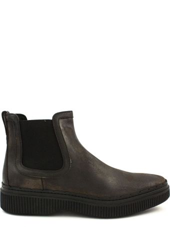 Tod's Brown Ankle Boots In Split Used Effect Leather.