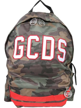 GCDS Camouflage Backpack With Logo