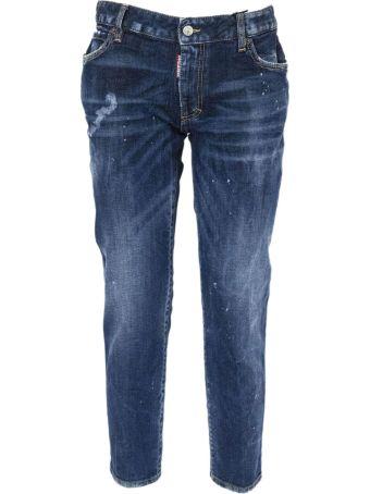Dsquared2 Blue Cotton Light Medium Waist Twiggy Jeans.