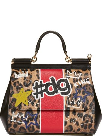 Dolce & Gabbana Medium Sicily Leopard Print Tote