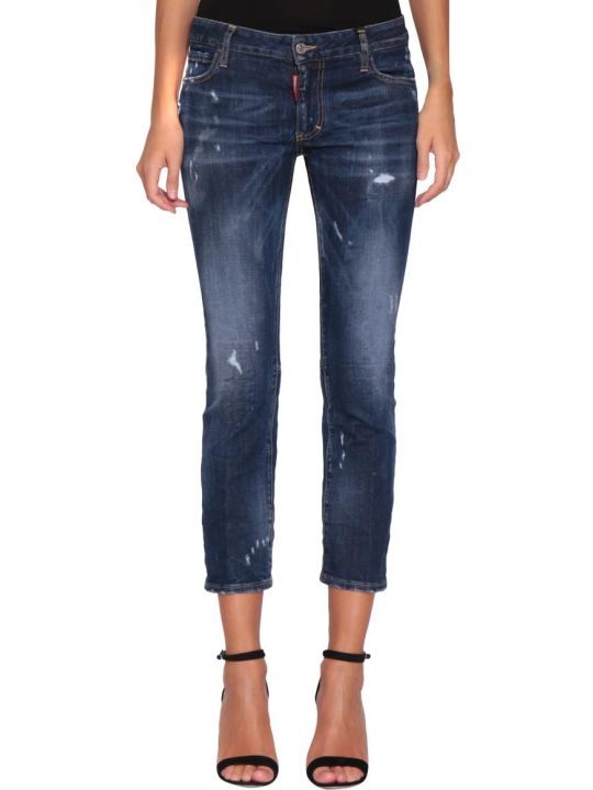 Dsquared2 Runway Flare Cropped Cotton Denim Jeans
