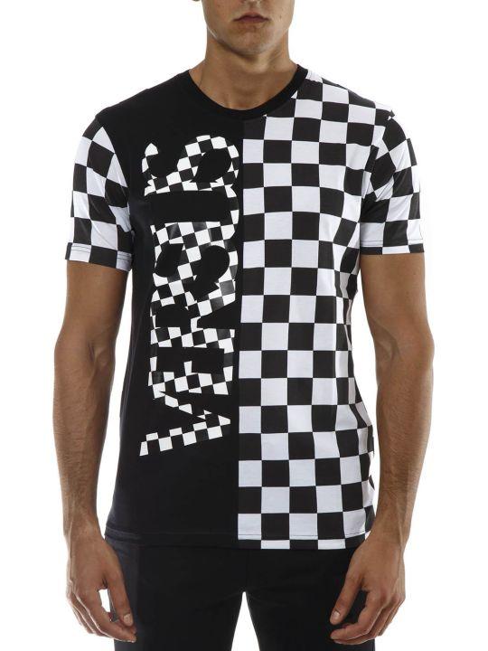 Versus Versace Black & White Check Cotton T-shirt