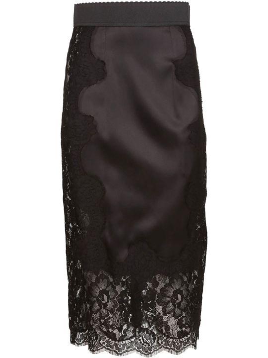 Dolce & Gabbana Lace Paneled Straight Skirt