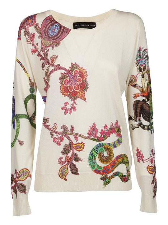 Etro Floral And Animal Embroidered Sweater