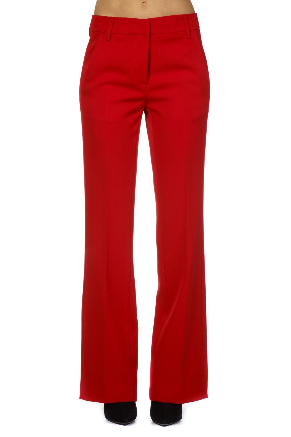 Dondup Red Crepe Flared Trousers