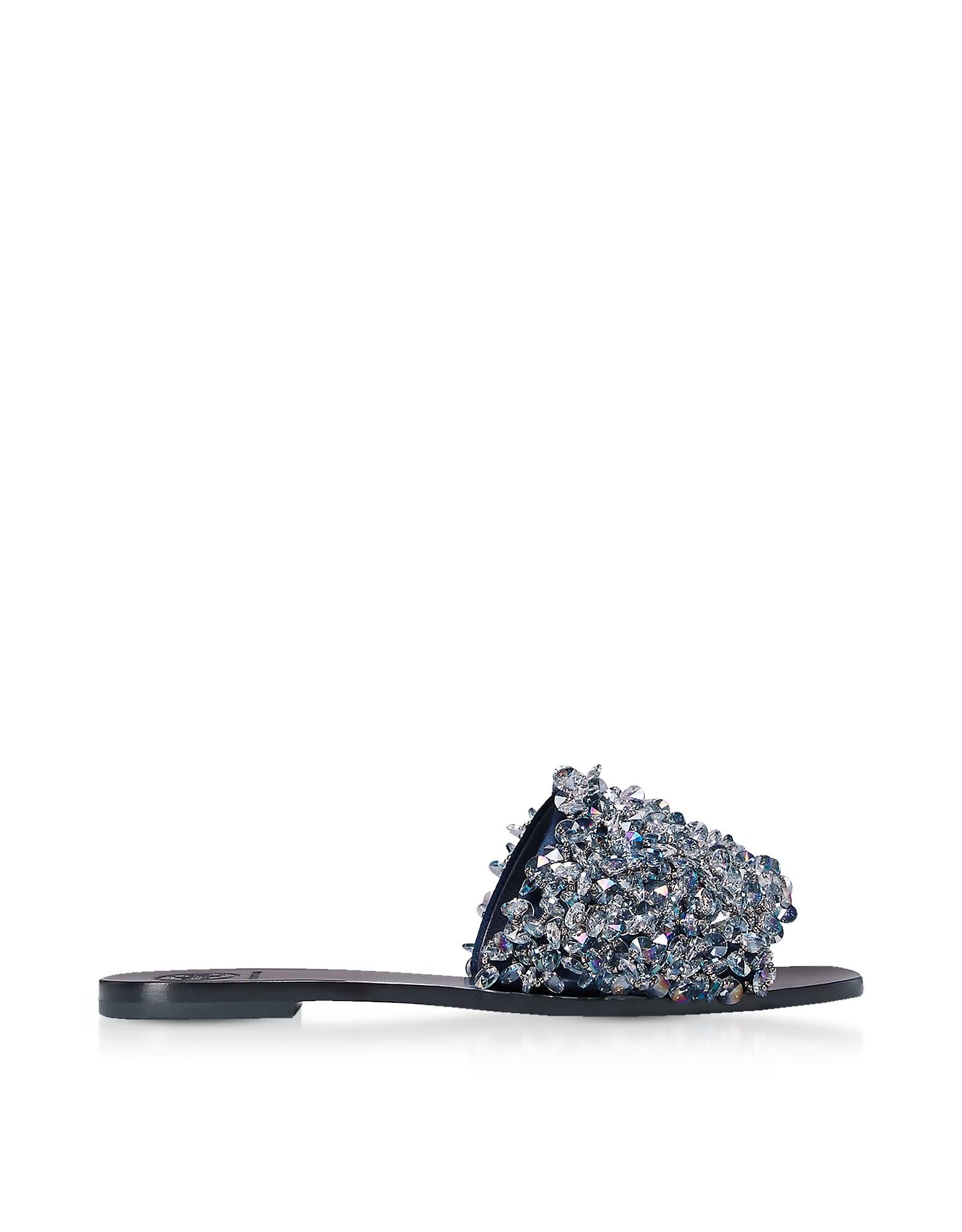 Tory Burch Designer Shoes, Logan Perfect Navy Satin Slide Sandals w/ Crystals