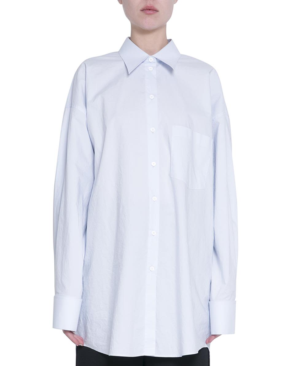 MM6 Maison Margiela Light Blue Cotton Oversized Shirt