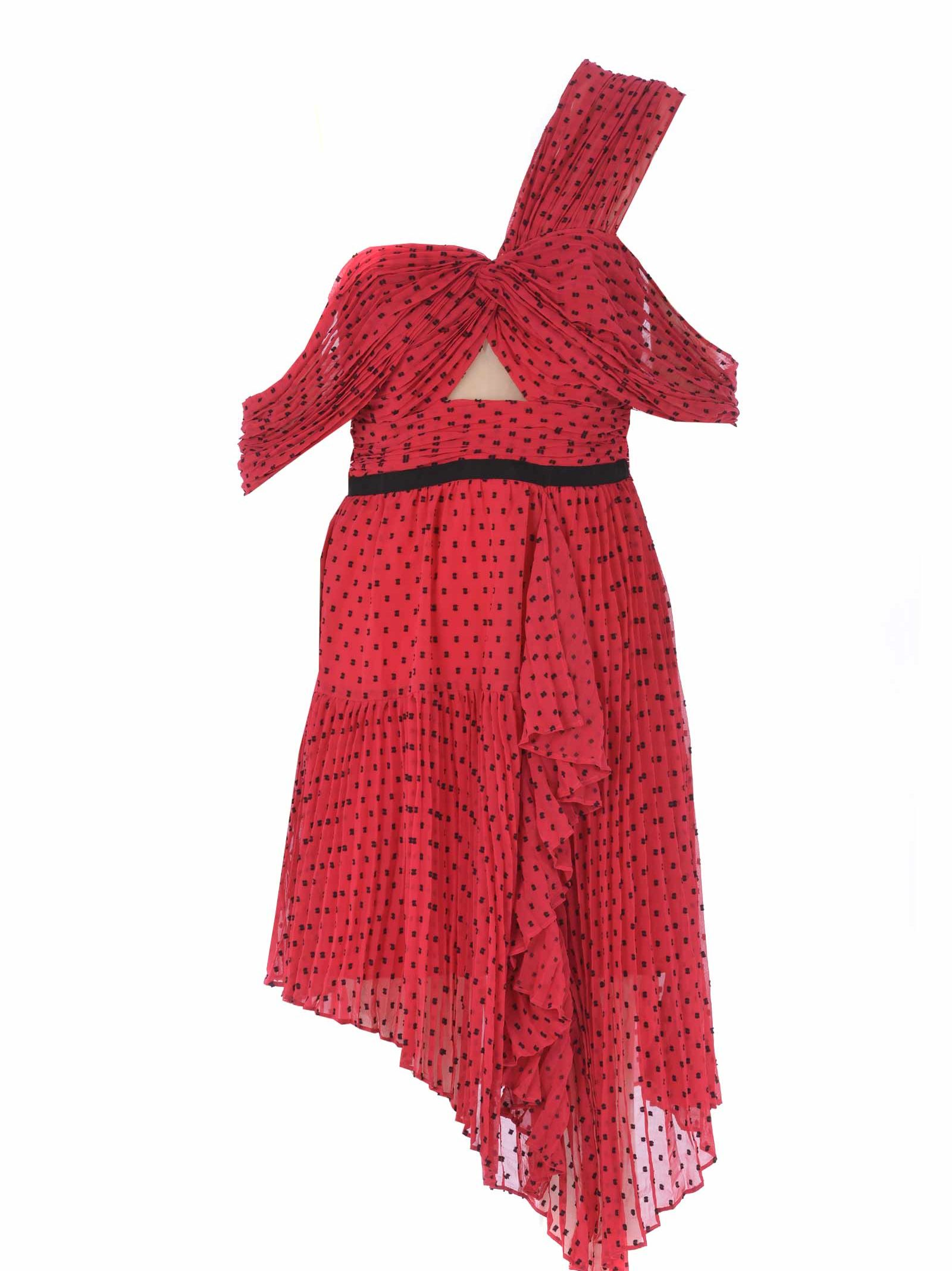 4a6137461d64 Self-Portrait Asymmetrical Polka Dot Crepe Mini Dress In Red ...