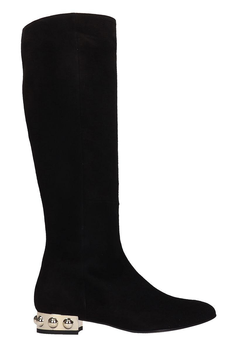 MARC ELLIS Black Suede High Boots