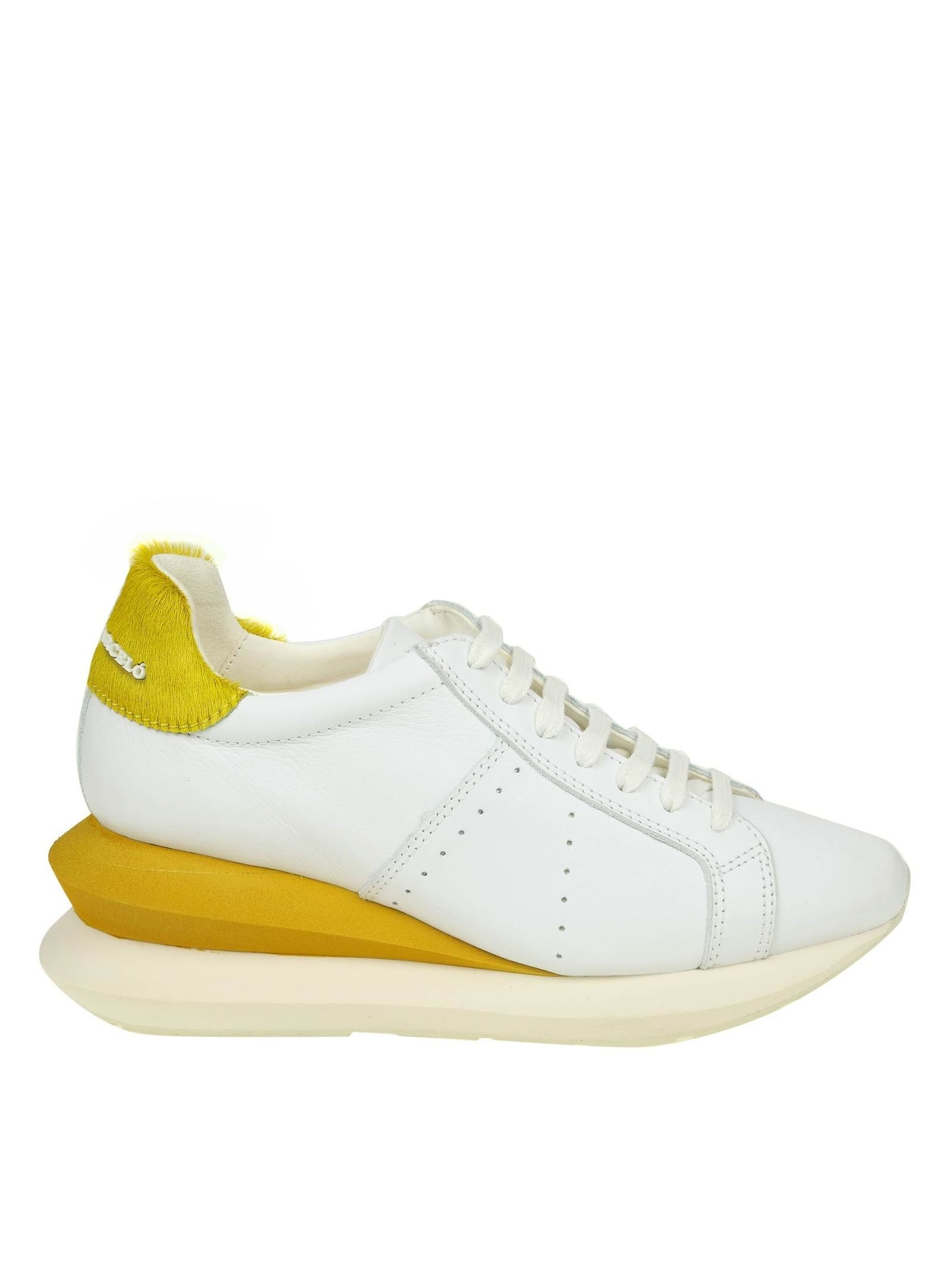 Manuel Barcelo' Sneakers Shoe In White Leather in White/Yellow