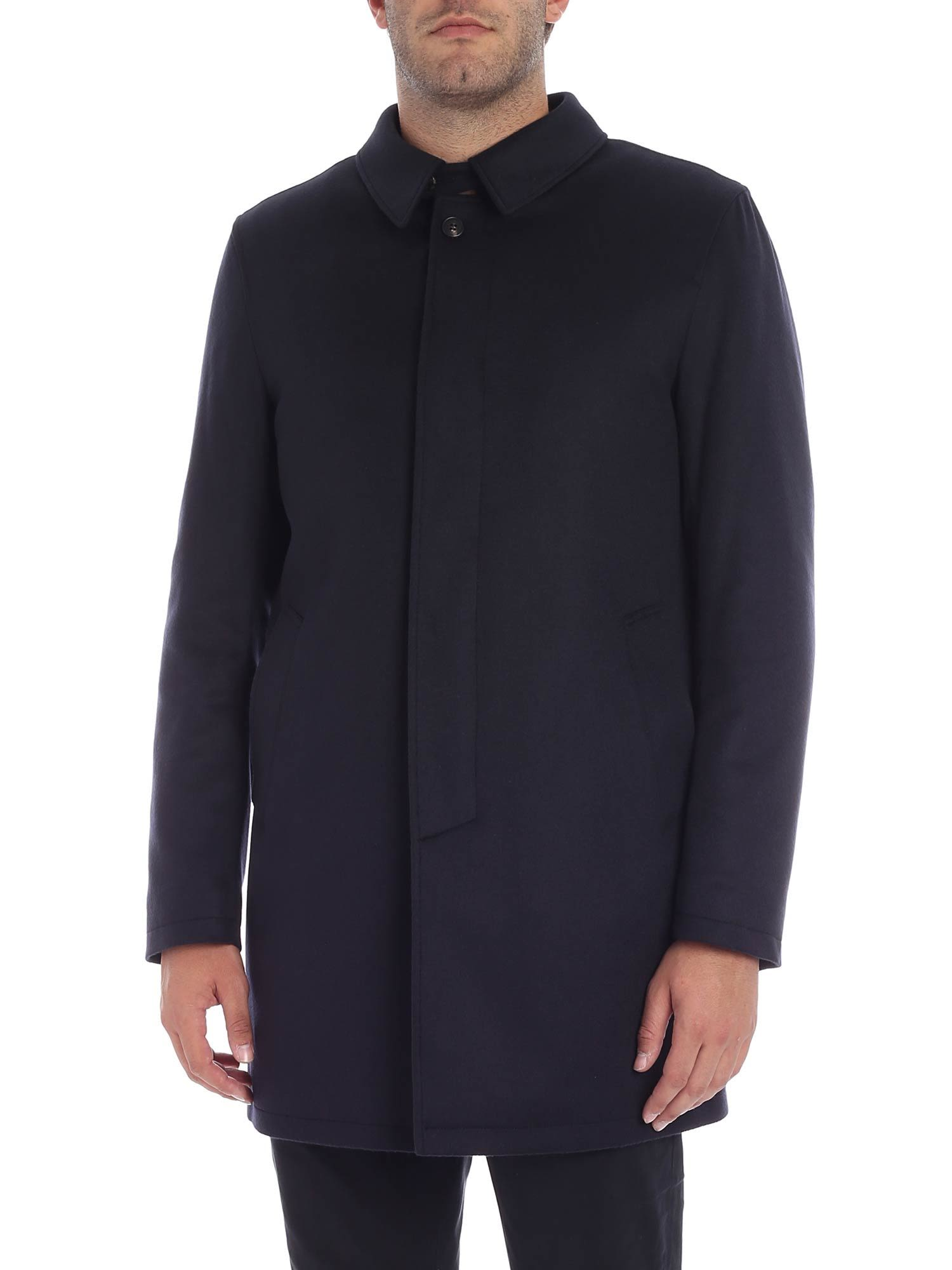 LUIGI BORRELLI Concealed Fastening Coat in Blue