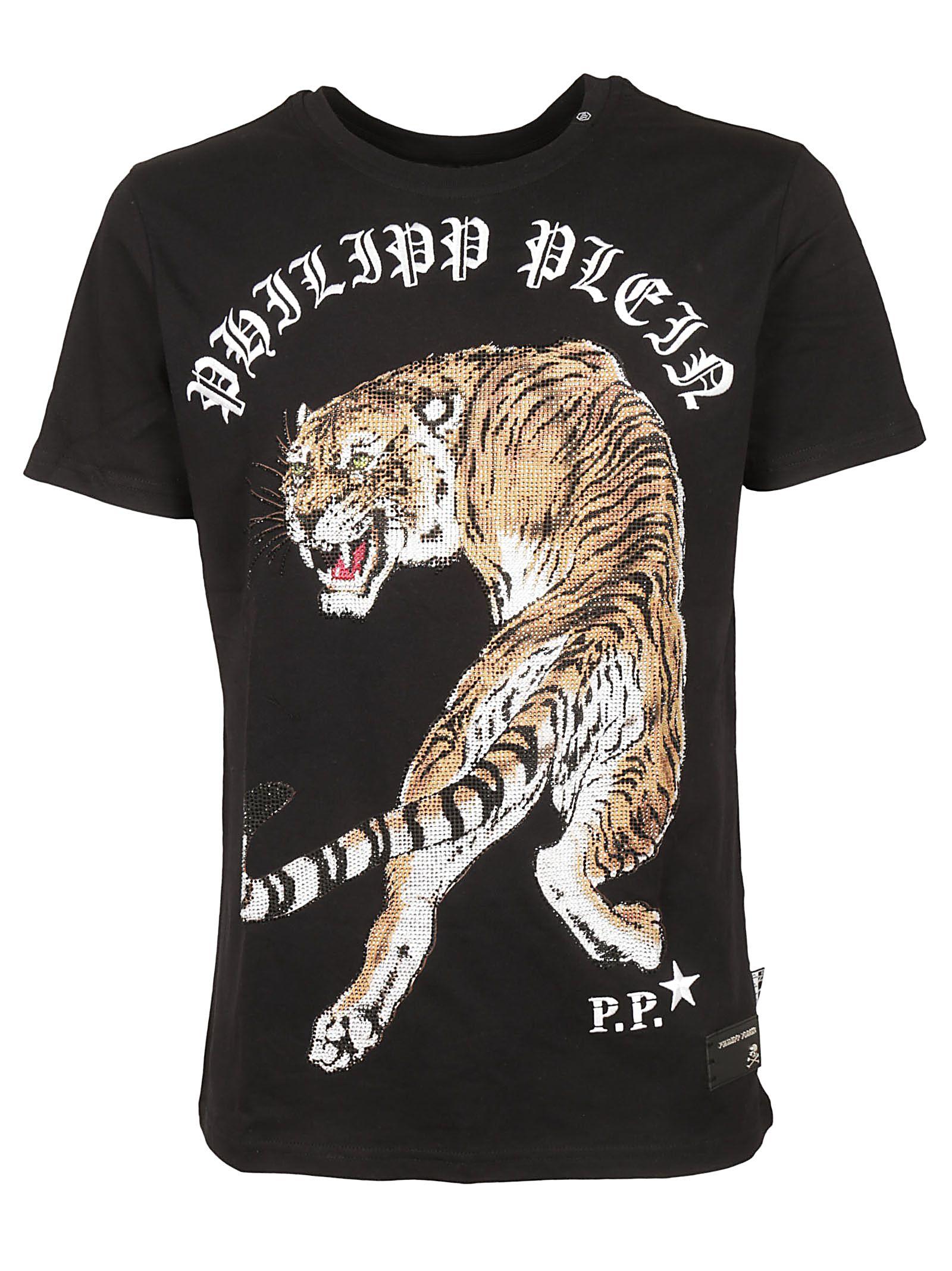 philipp plein philipp plein tiger print t shirt black. Black Bedroom Furniture Sets. Home Design Ideas