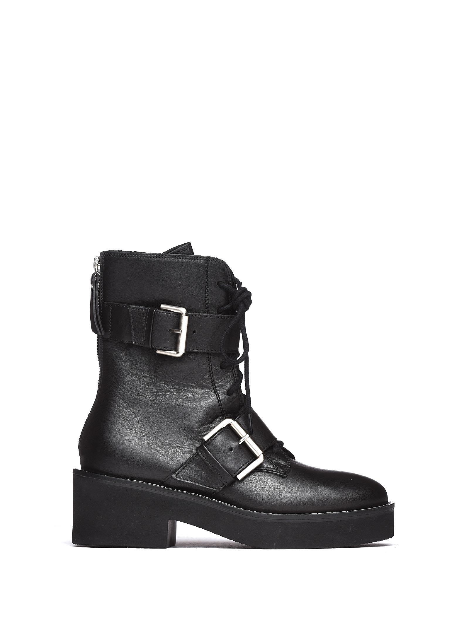VIC MATIE Black Military Boots With Buckles And Rubber Sole in Nero