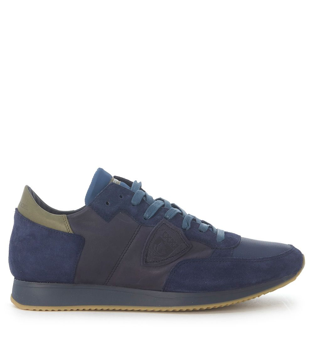 Sneaker Philippe Model Tropez In Blue Leather And Suede 8934660