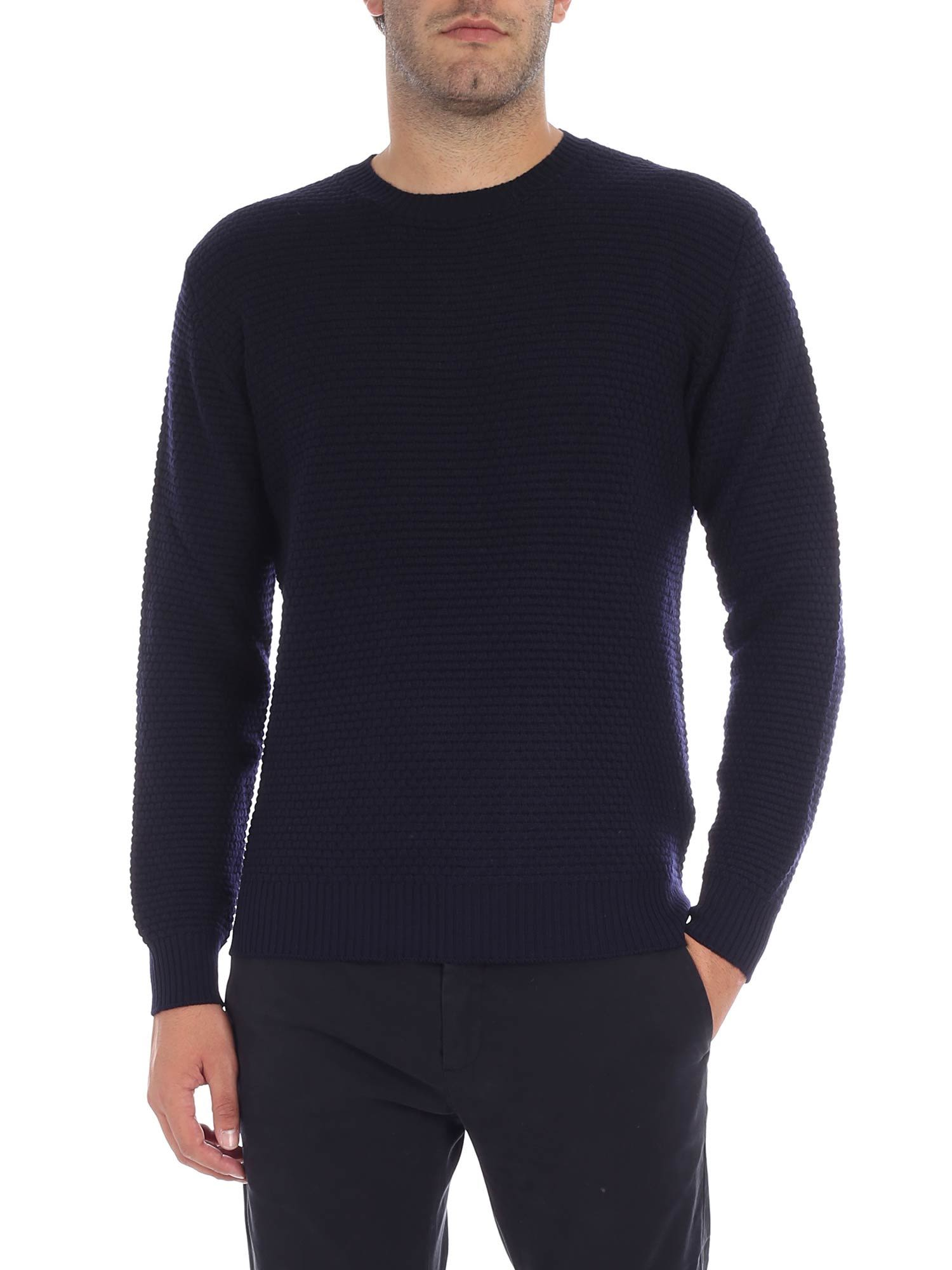 LUIGI BORRELLI Knitted Detail Jumper in Blue