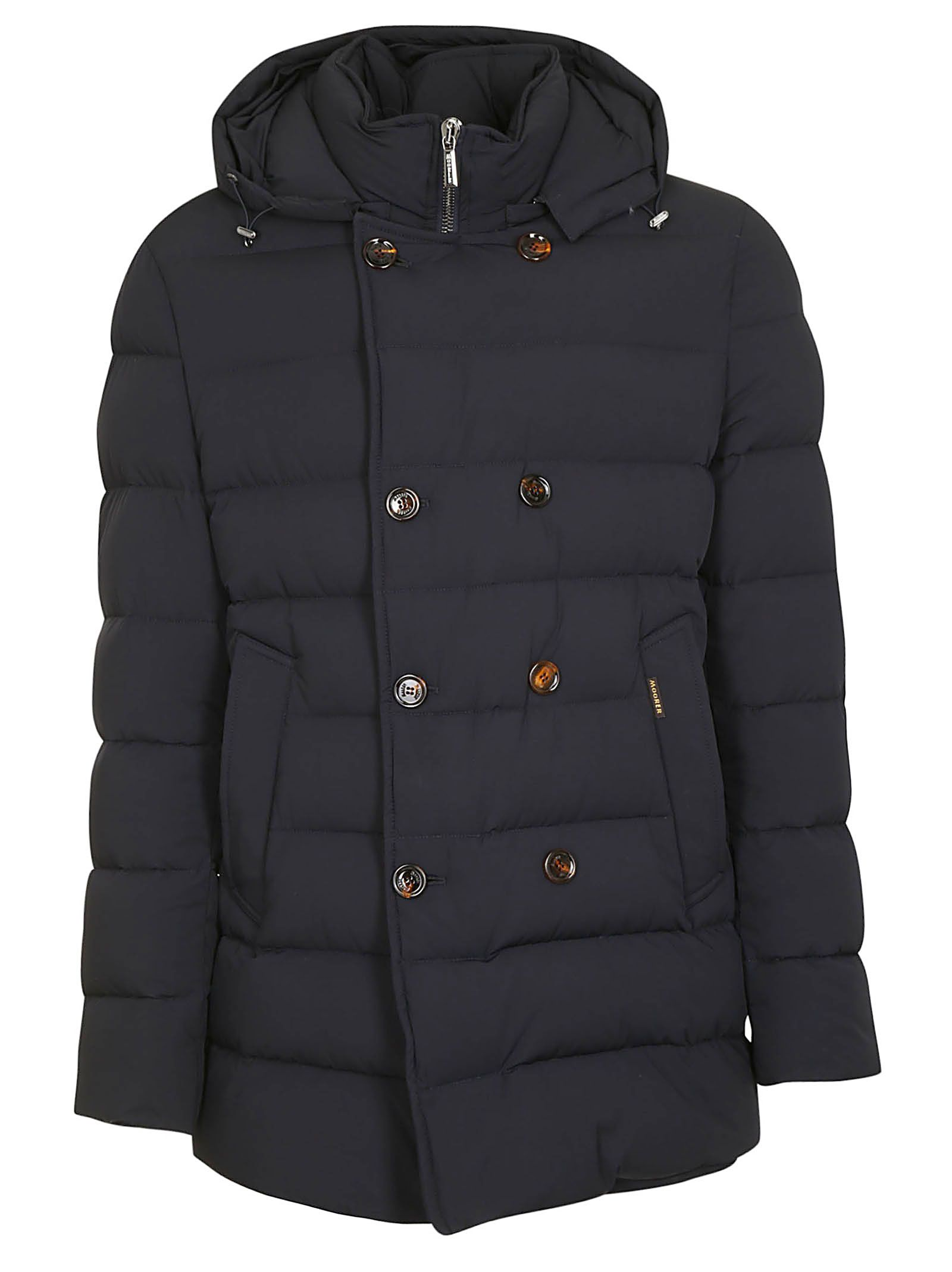 MOORER Double Breasted Padded Jacket in Blu Scuro