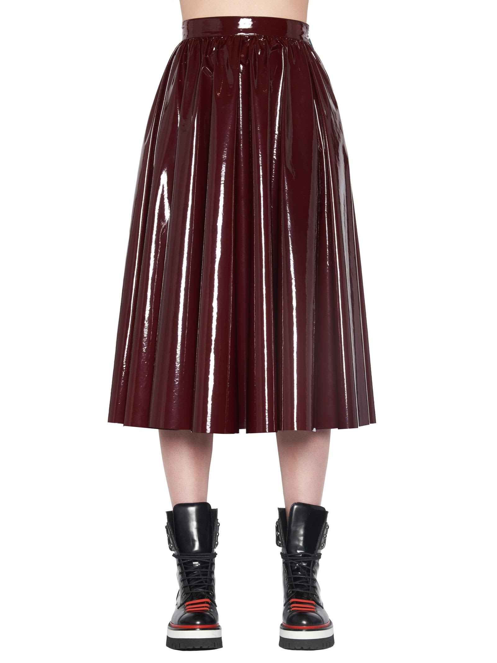 Faux Patent Full Skirt, Burgundy