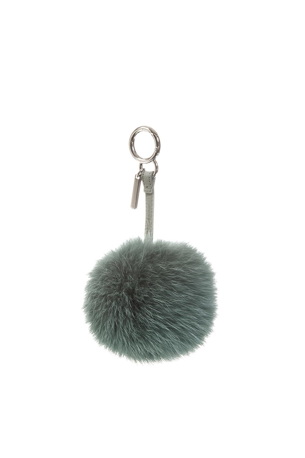 GREEN COLOR FUR POMPOM CHARM
