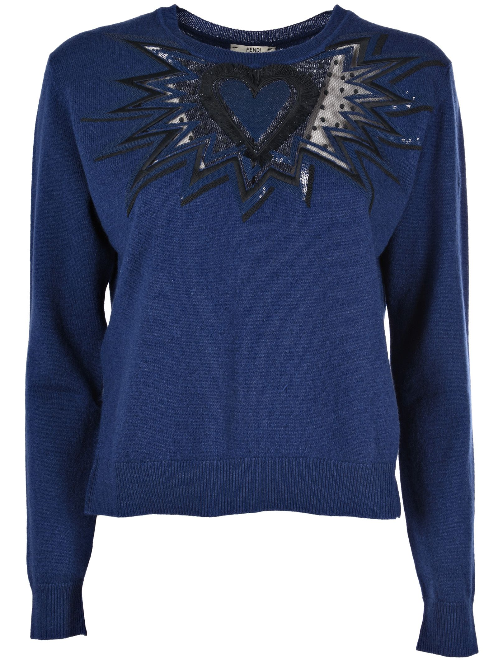 Fendi Embroidered Heart Sweater