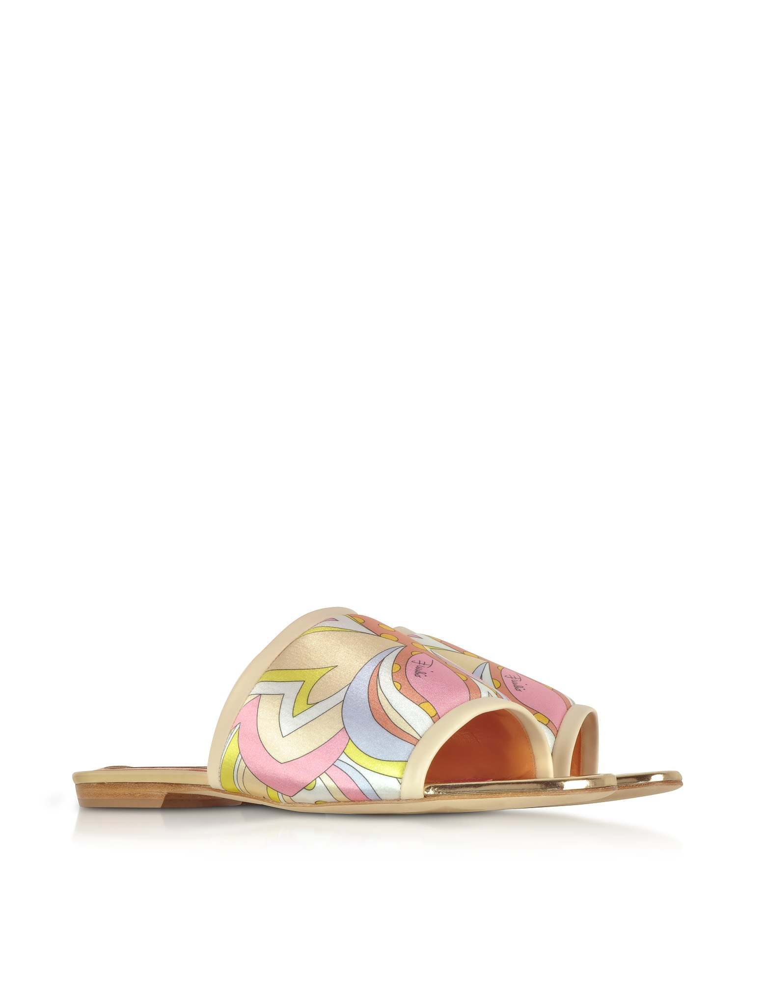 Emilio Pucci Designer Shoes, Printed Canvas and Leather Flat Slide Sandals