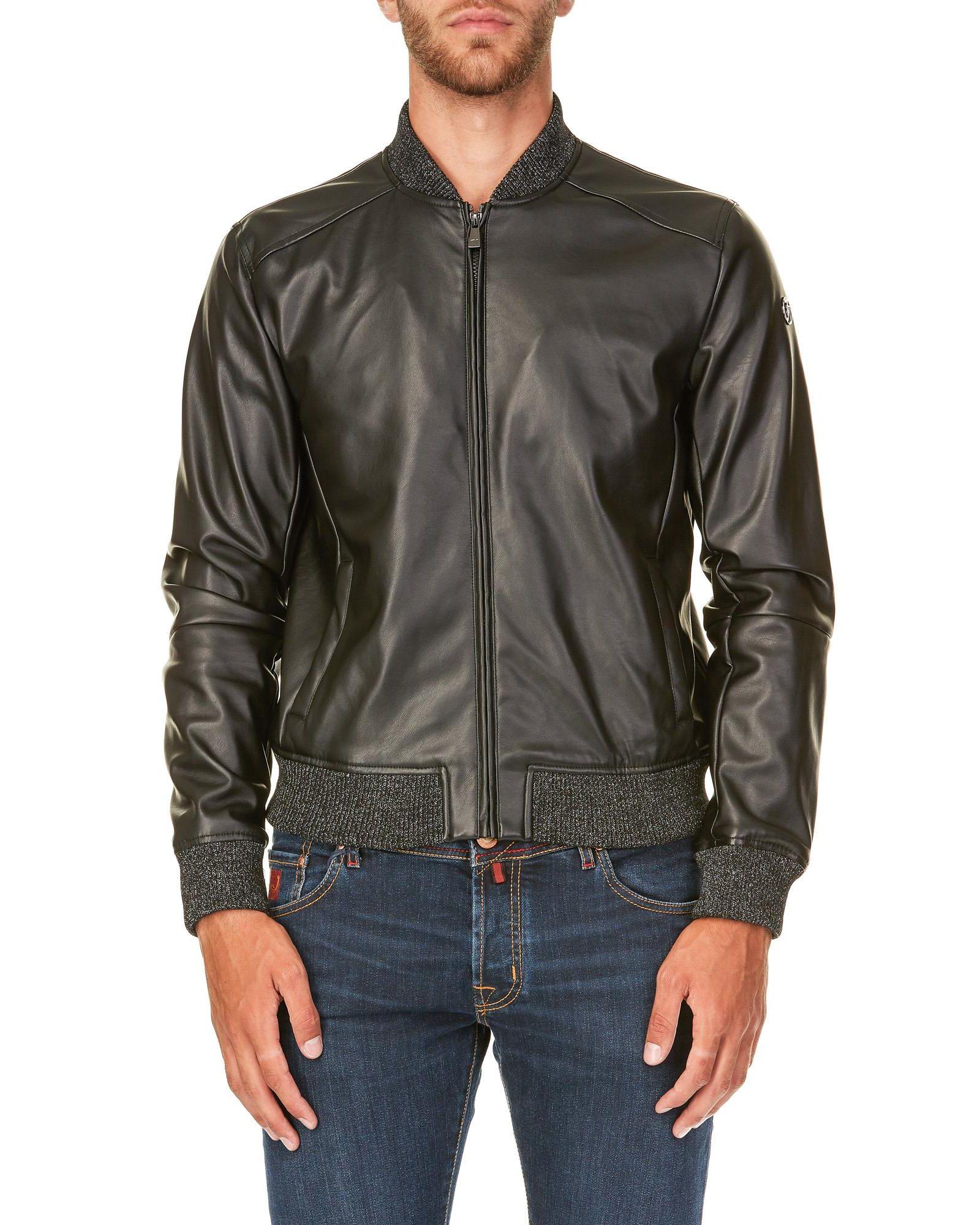 TRUSSARDI Eco Leather Bomber Jacket in Black