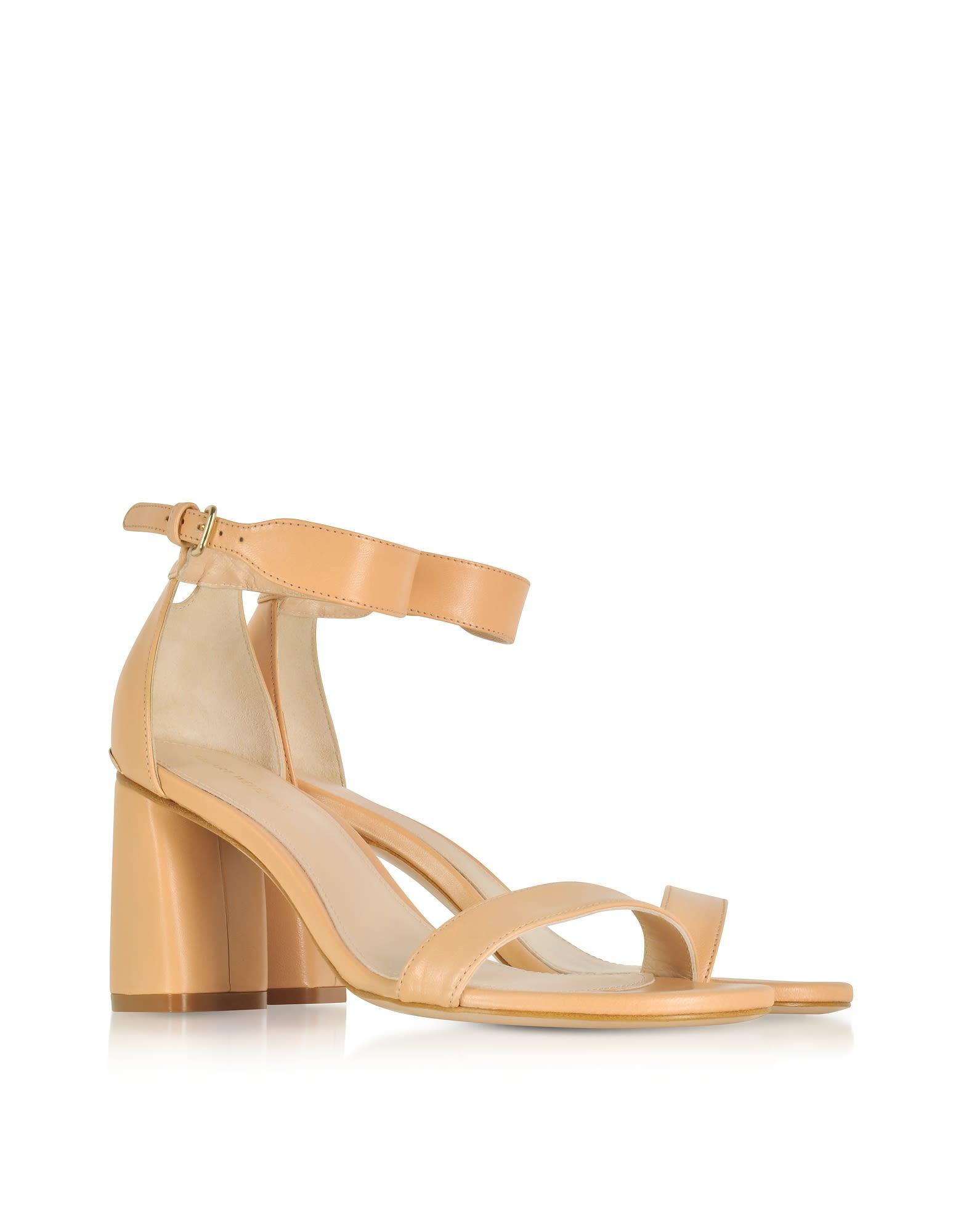 Stuart Weitzman Designer Shoes, Partlynude Nude Nappa Leather Heel Sandals