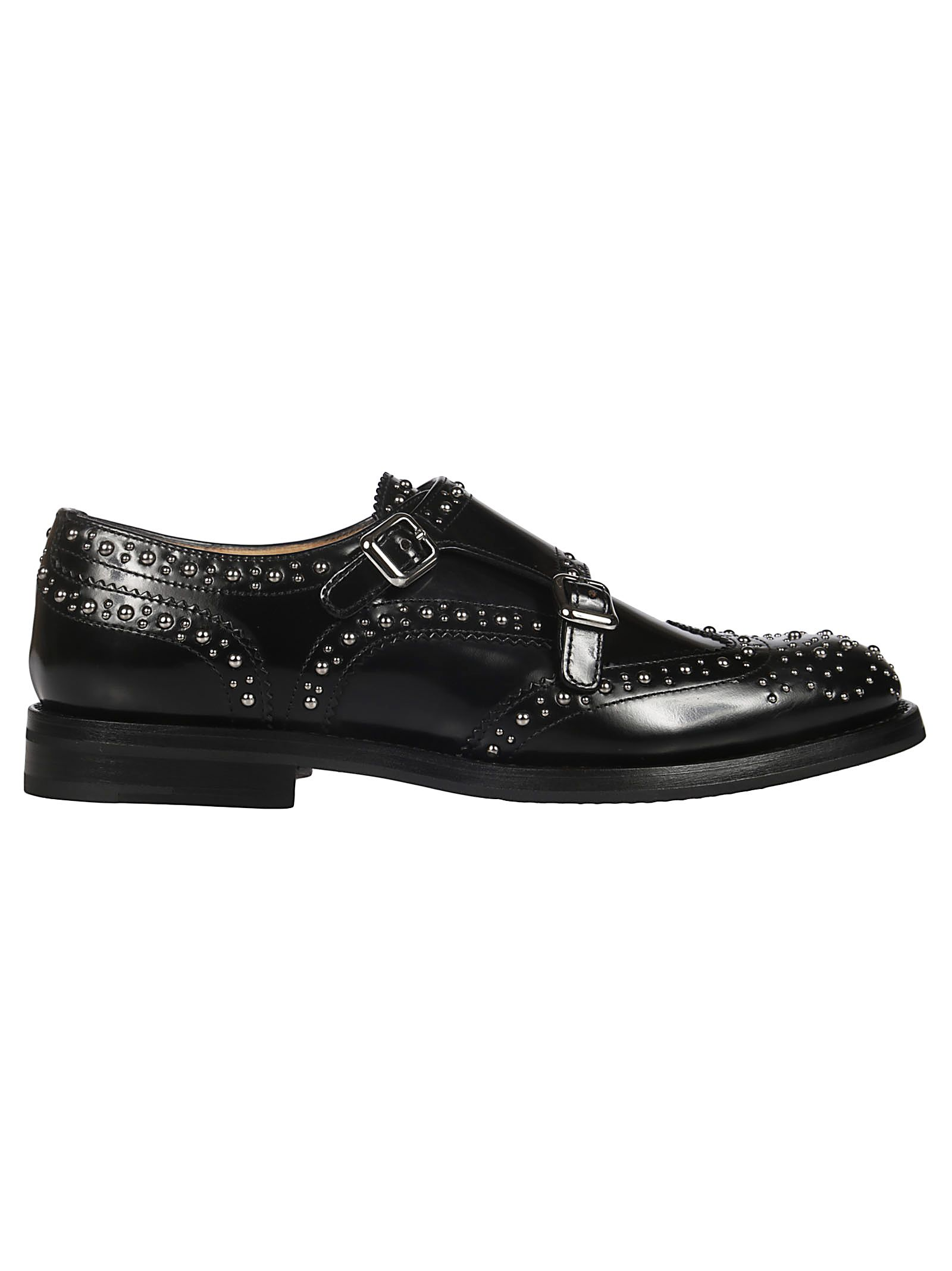 Studded Monk Shoes, Black