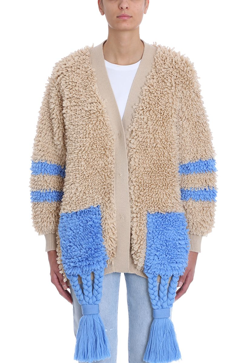 off-white -  Chunky Carpet Effect Cardigan