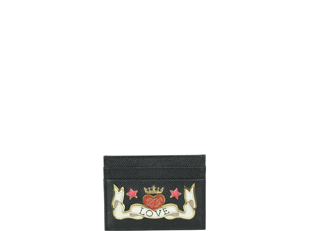 Dauphine Calfskin Credit Card Holder With Embroidery Patch in Black
