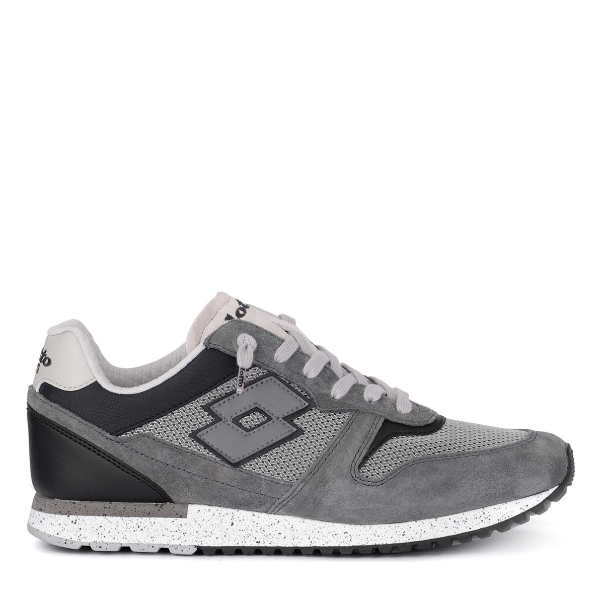 LOTTO LEGGENDA Lotto Tokyo Ginza Black And Grey Suede And Fabric Sneaker in Grigio