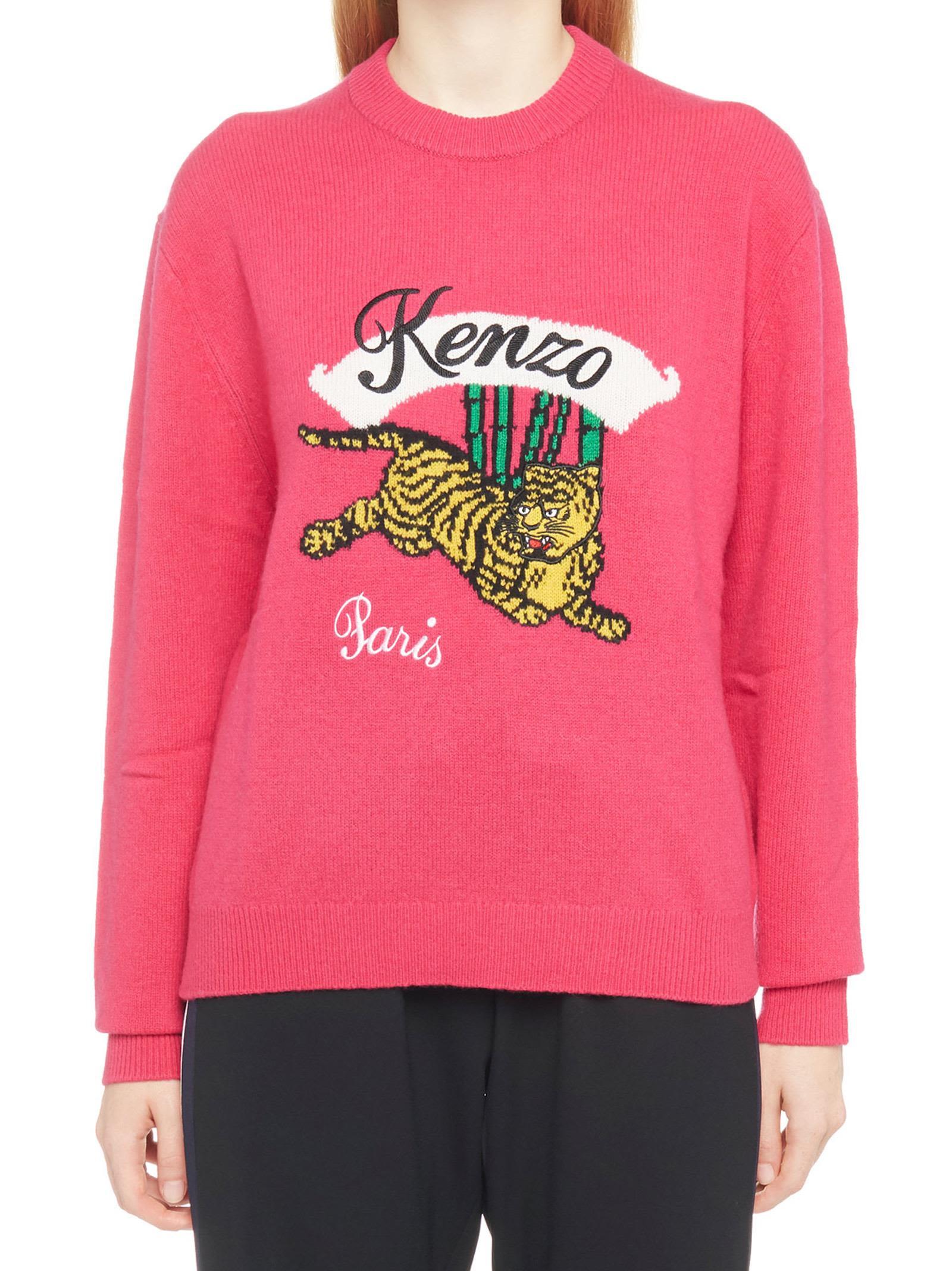 'Jumping Tiger' Sweater in Fuchsia