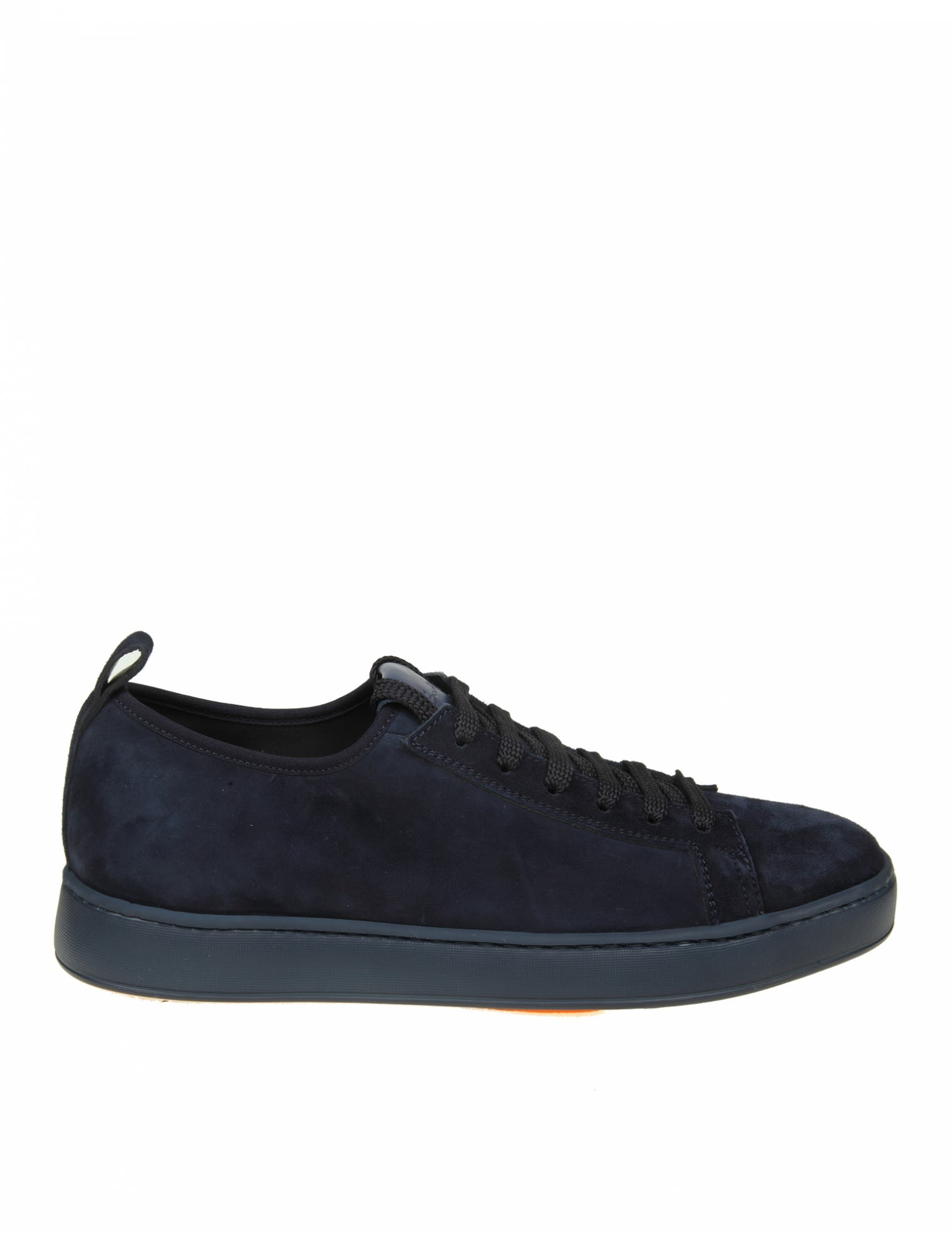 SANTONI SNEAKERS IN BLUE SUEDE