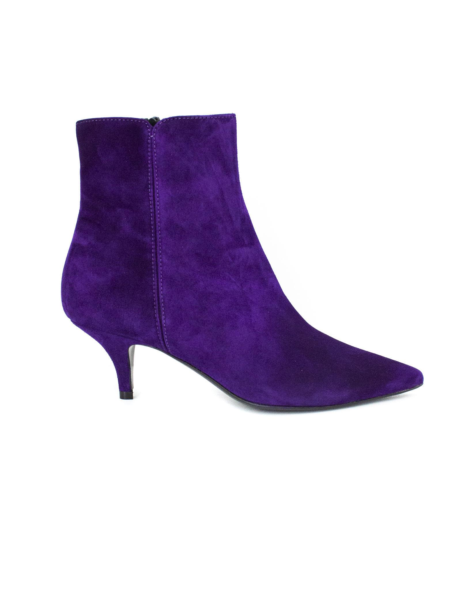 ROBERTO FESTA Purple Suede Leather Oxford Ankle Boots. in Viola