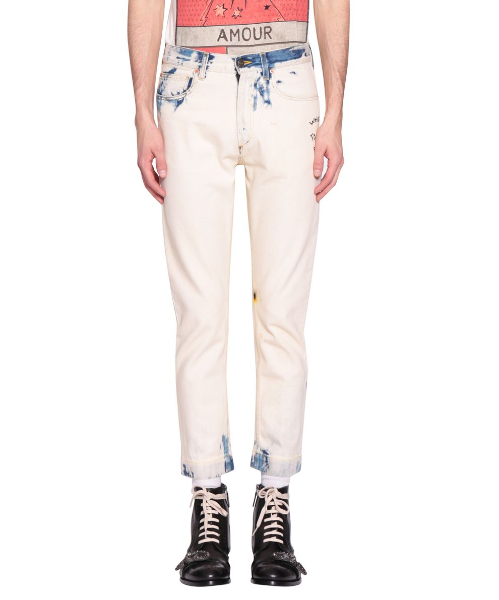 Gucci Cotton Denim Bleached Embroidered Jeans 10526947