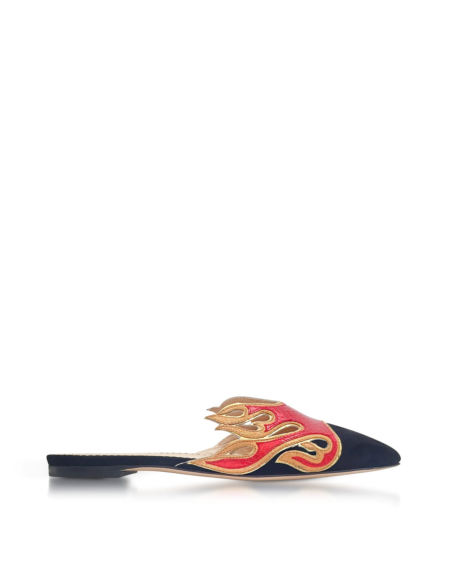 CHARLOTTE OLYMPIA BLACK SUEDE AND RED SNAKE-PRINTED LEATHER FLAMING SLIDE MULES