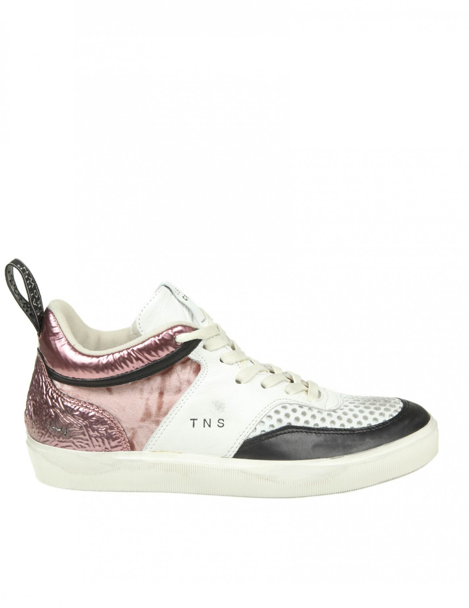 LEATHER CROWN LEATHER SNEAKERS WITH DETAILS IN VELVET AND LAMINATED LE