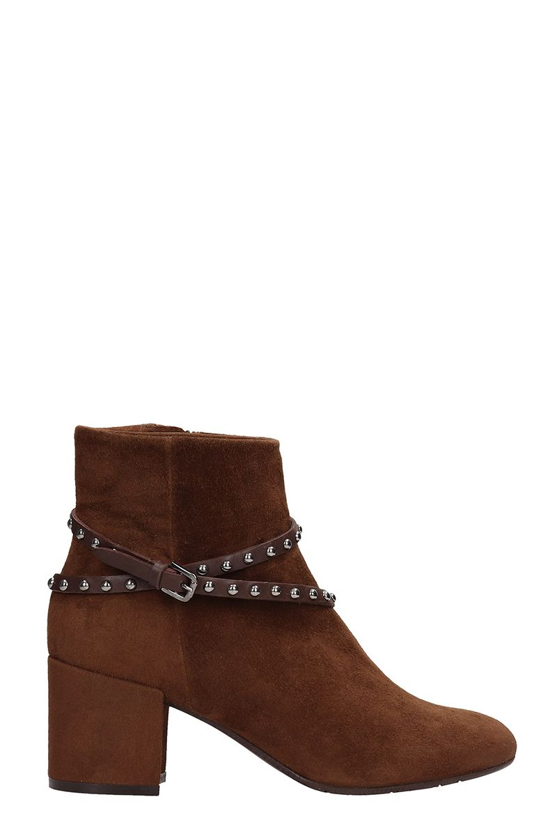 JULIE DEE Brown Suede Ankle Boots in Leather Color